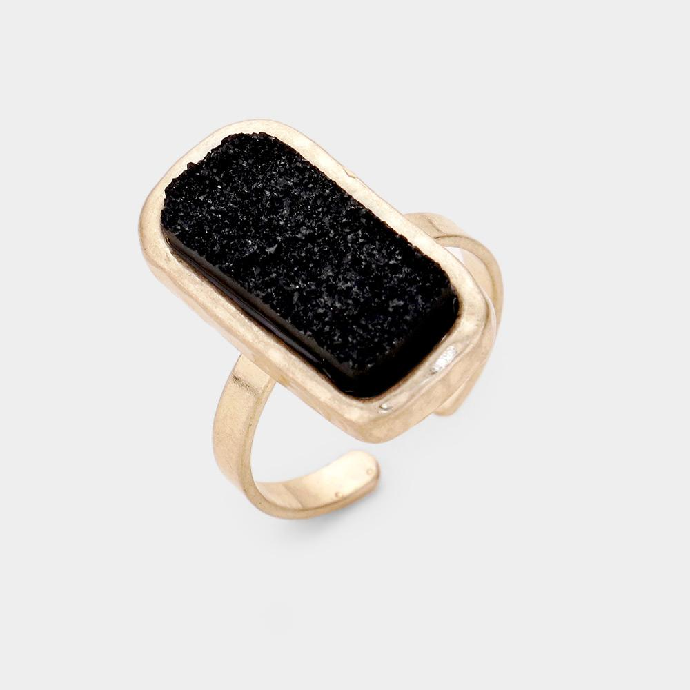 Coal Black Druzy Stone Open Band Ring - Boutique 1780