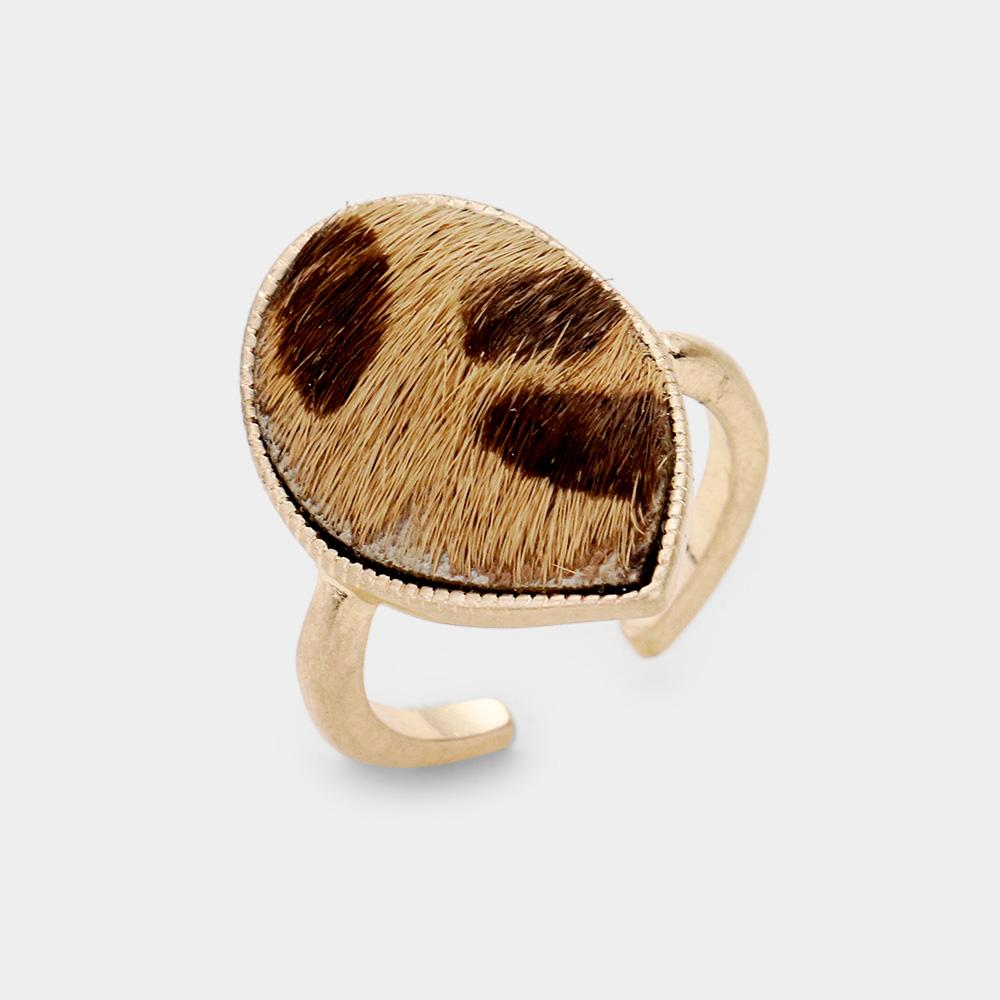 Leopard Teardrop Cuff Ring - Boutique 1780