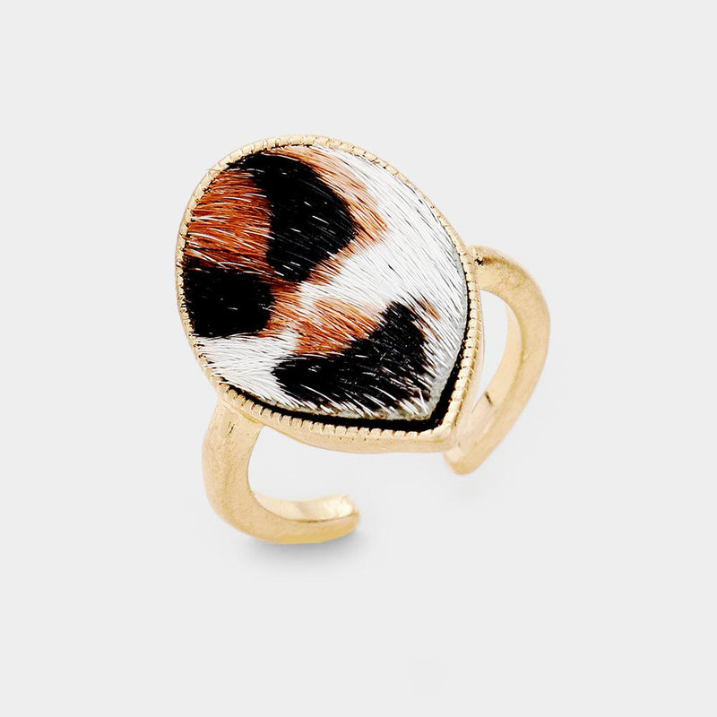White Leopard Teardrop Cuff Ring - Boutique 1780