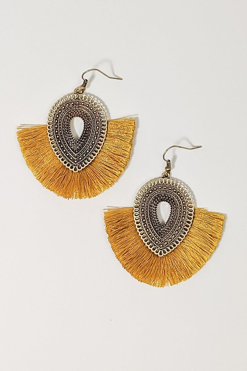 East Meets West Fringe Earrings in Mustard - Boutique 1780
