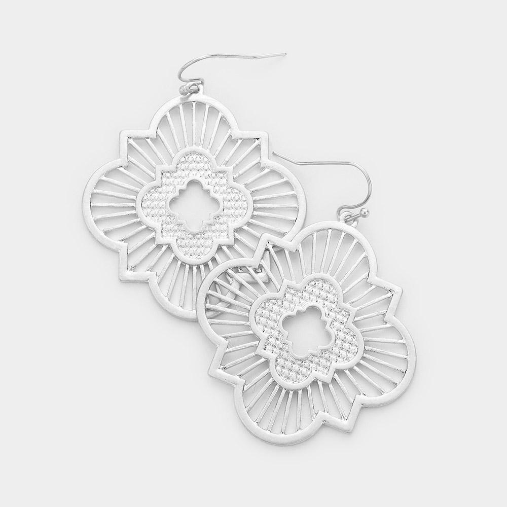 Moroccan Inspired Medallion Earrings in Silver