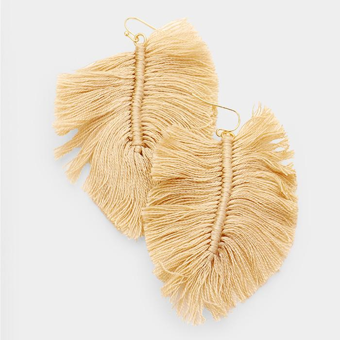 Beige Fringe Macarame Boho Earrings