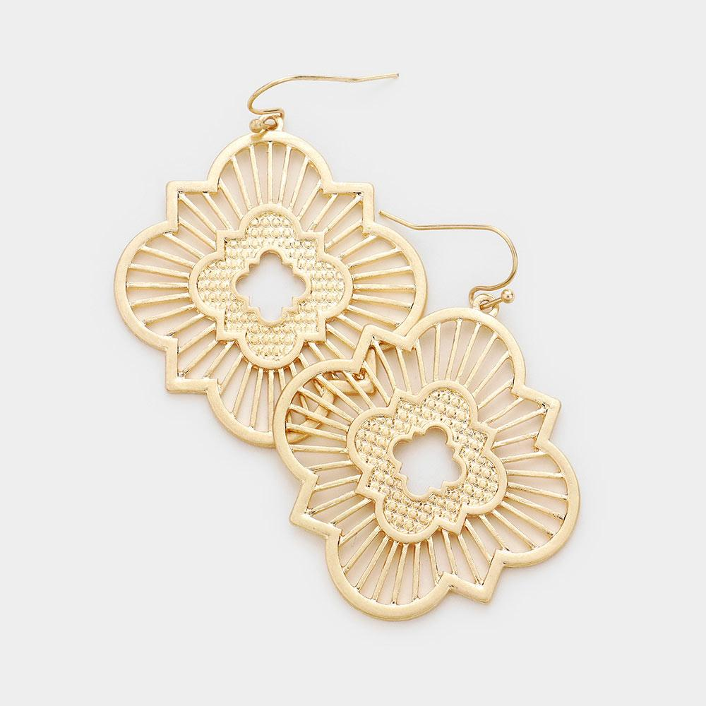 Moroccan Inspired Medallion Earrings in Gold