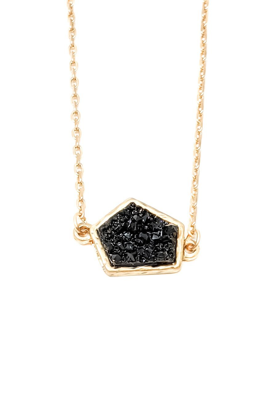 Home Run Druzy Necklace in Black - Boutique 1780