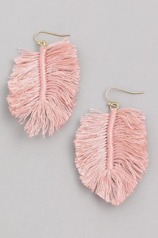 Pink Fringe Macrame Earrings - Boutique 1780