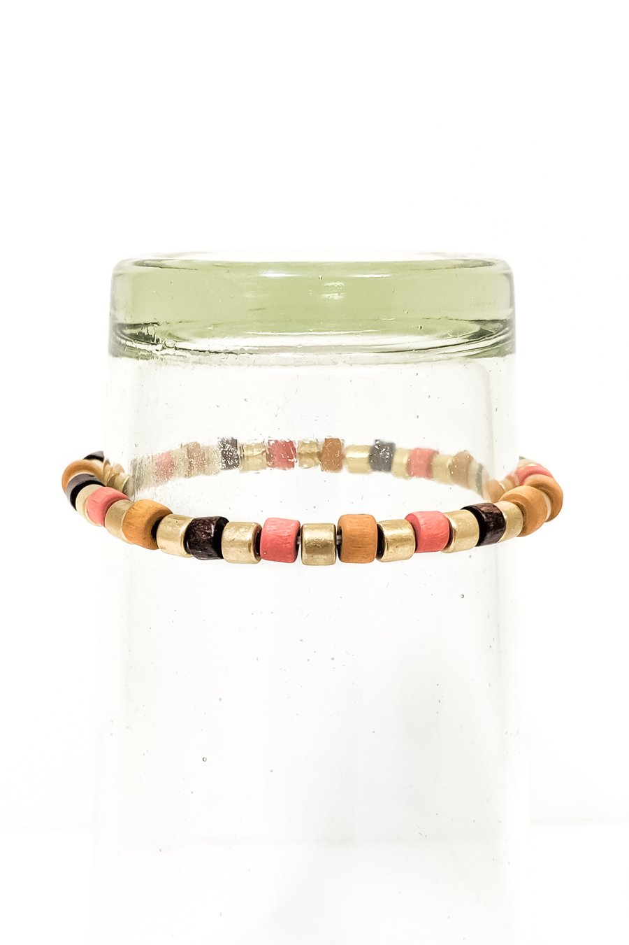 Gold & Wooden Bead Bracelet - Boutique 1780