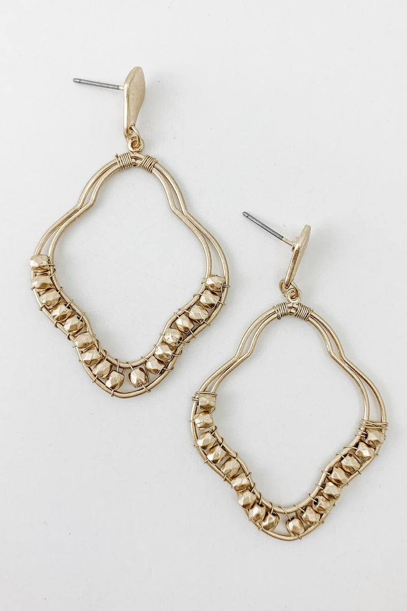 Beaded Medallion Earrings - Boutique 1780
