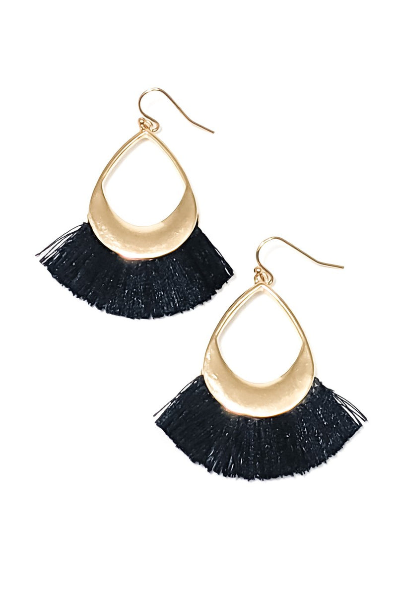 Teardrop Fringe Earrings in Black - Boutique 1780