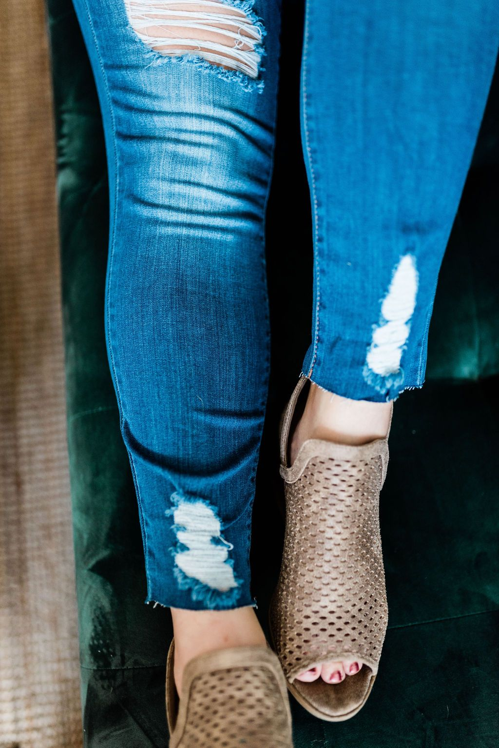 Shark Week Skinny Jeans with Chewed Hems - Boutique 1780