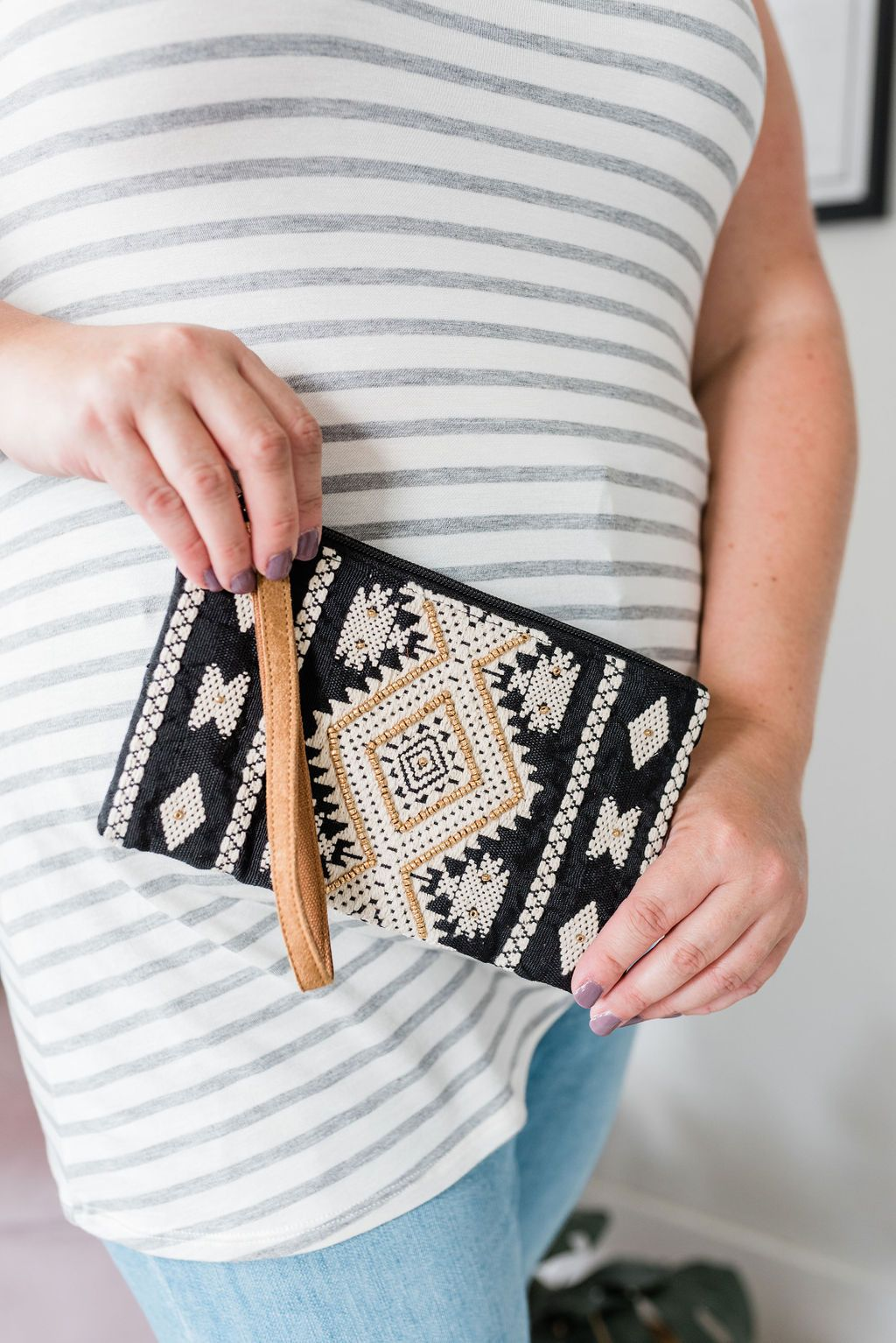Handmade Beaded Wristlet in Black - Boutique 1780