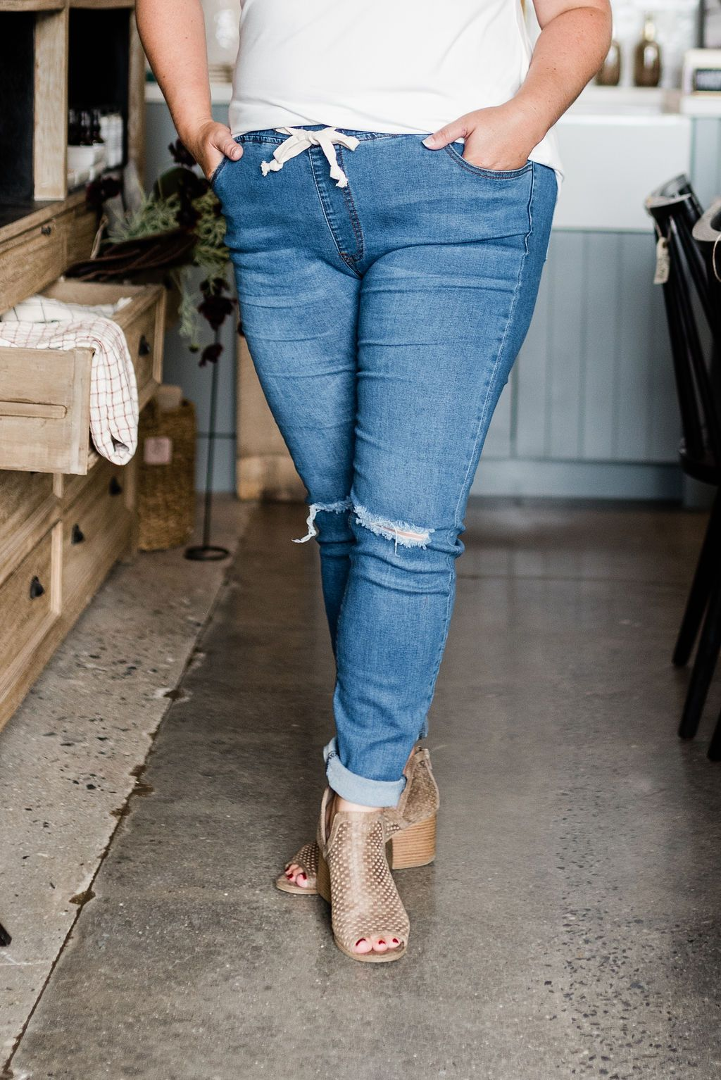 Mid-Rise Skinny Denim Joggers - Boutique 1780