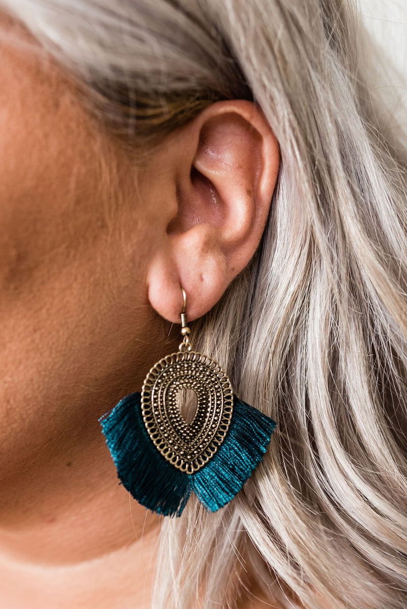 East Meets West Fringe Earrings in Teal - Boutique 1780