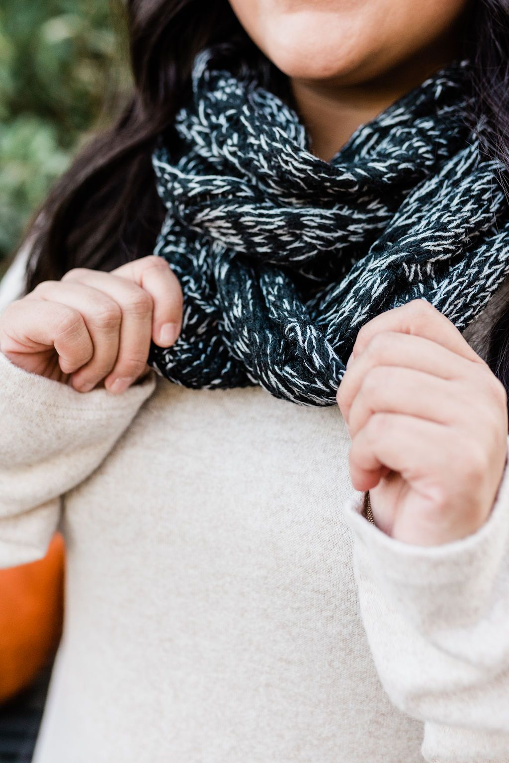 Heathered Black Cable Knit Infinity Scarf - Boutique 1780