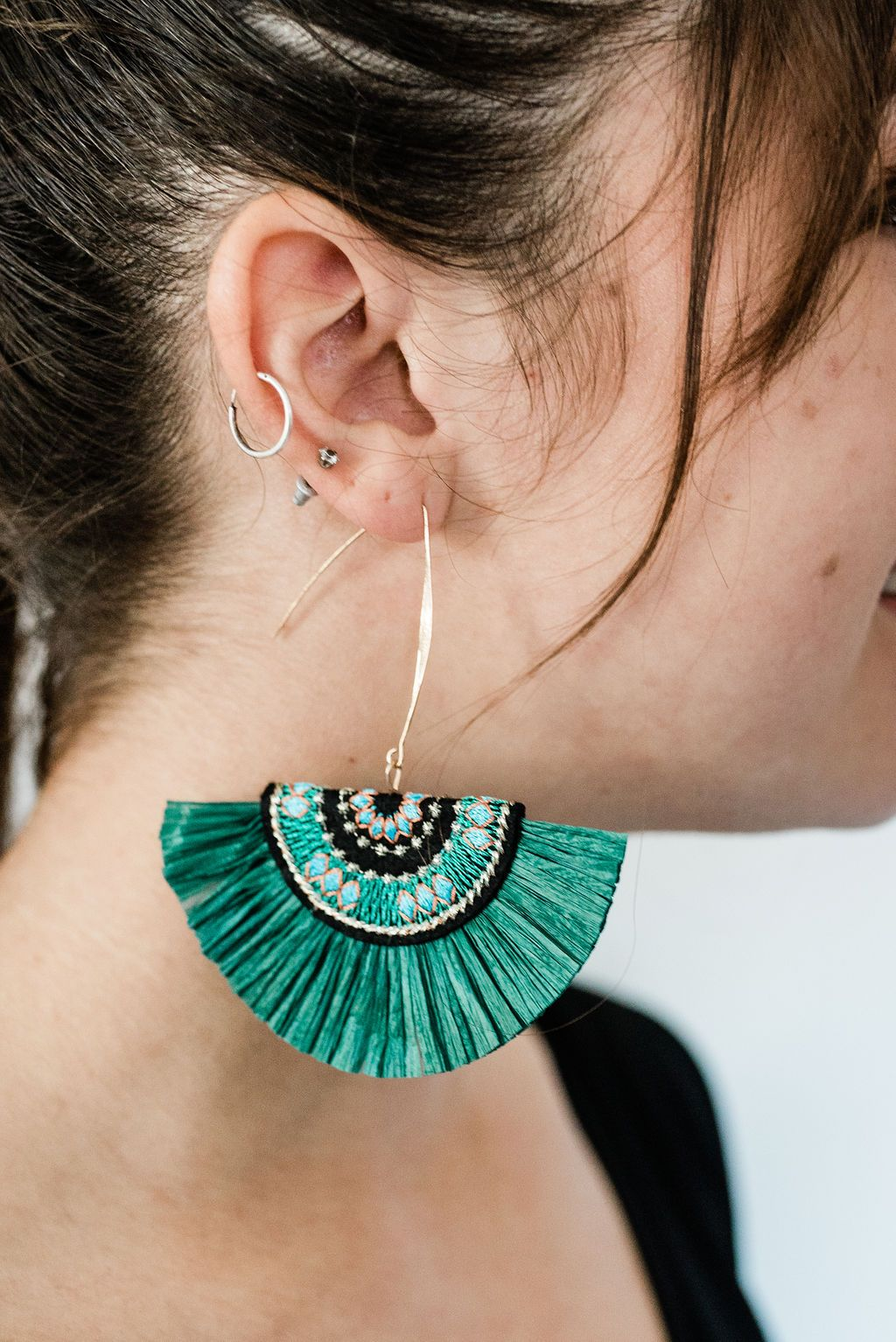 Emerald Raffia Fan Earrings - Boutique 1780