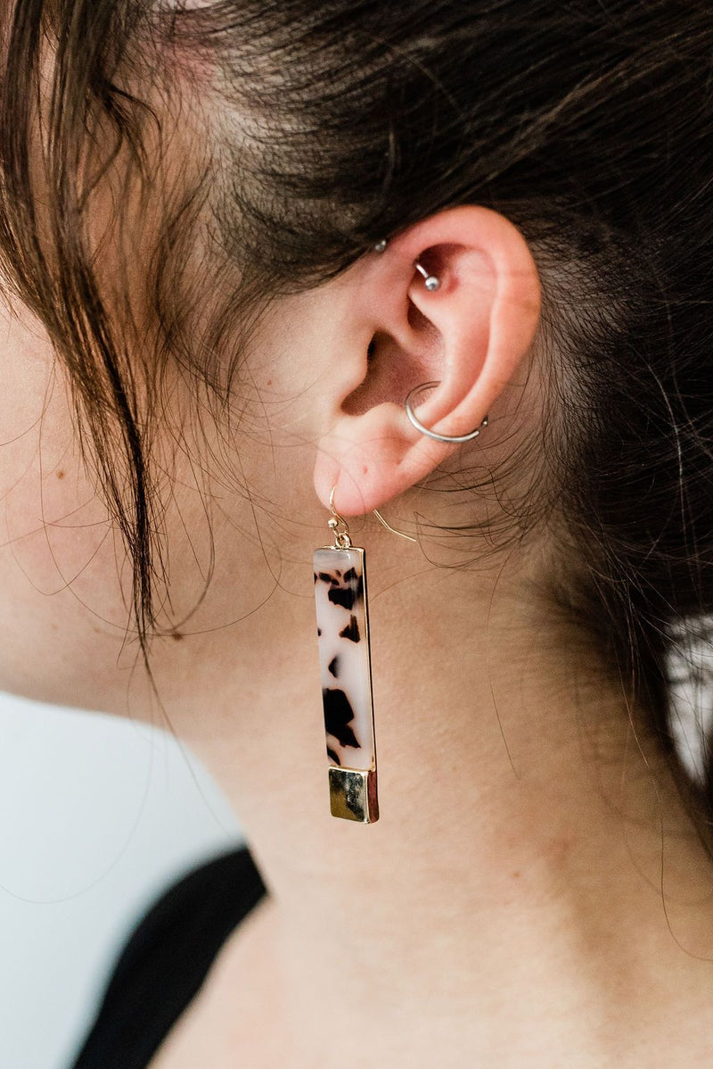 Pink Leopard Acetate Bar Earrings - Boutique 1780