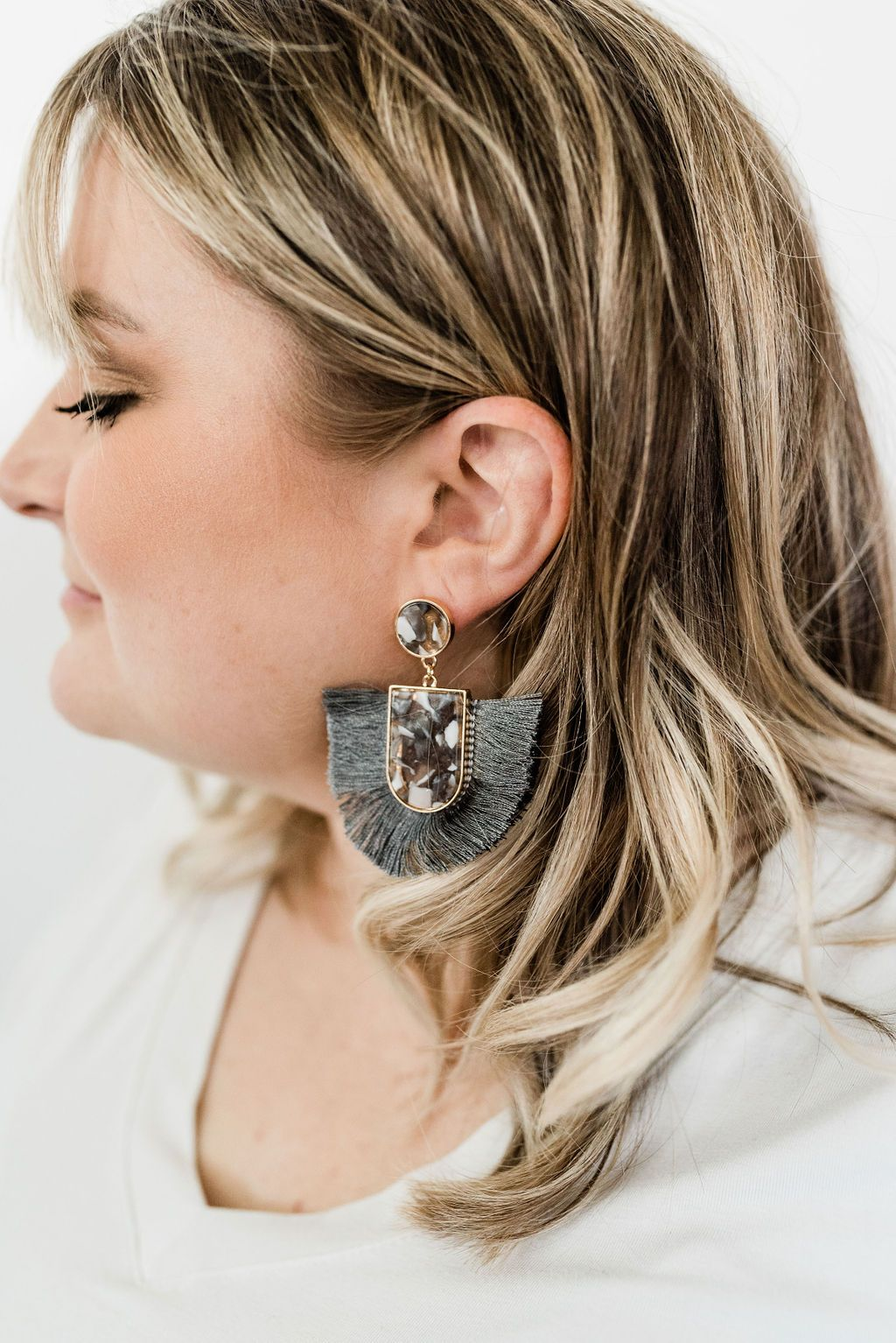 Grey Tassel and Acetate Earrings - Boutique 1780