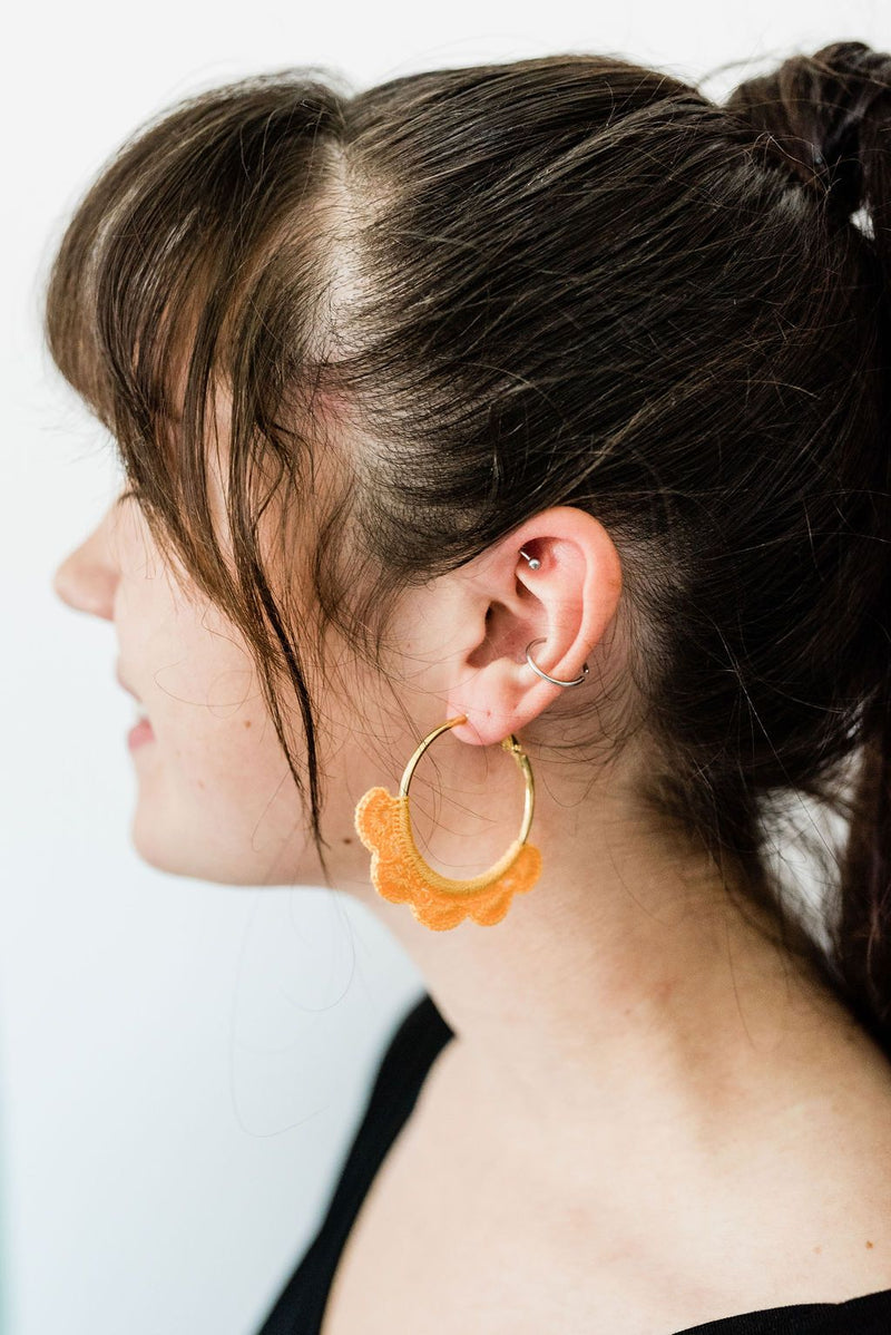 Mustard Crocheted Hoop Earrings - Boutique 1780
