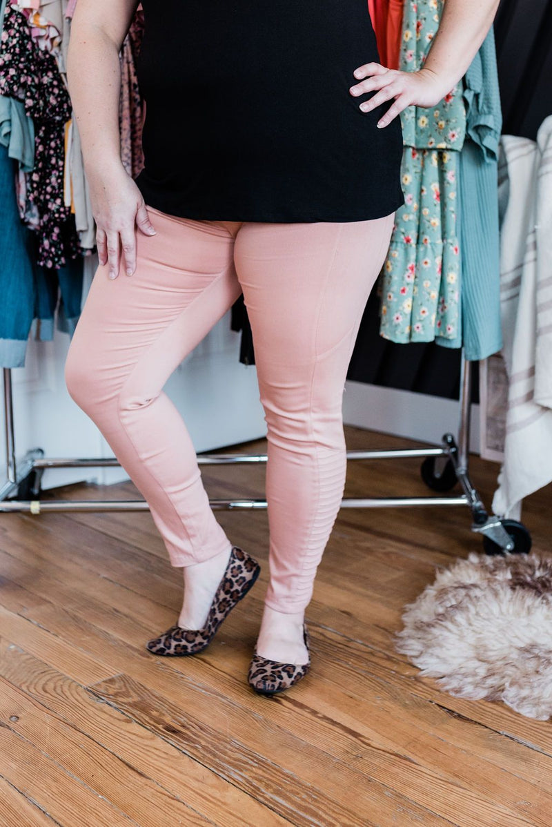 High Waist Skinny Moto Pant in Dusty Peach - Boutique 1780