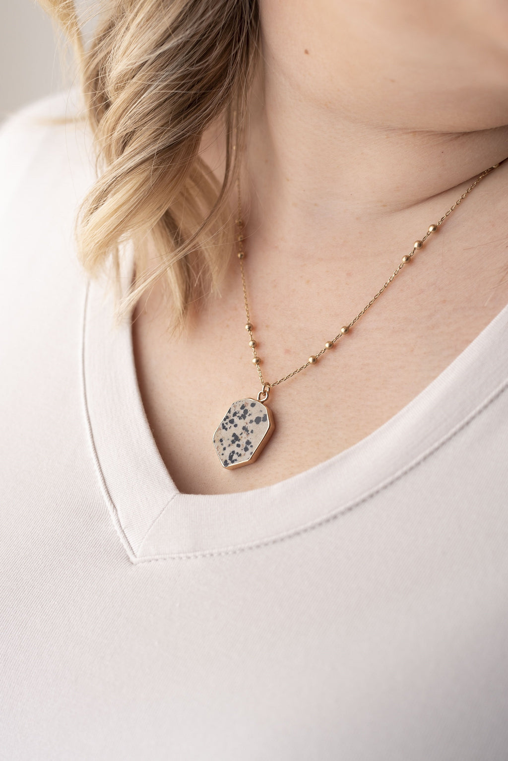Natural Stone Necklace in Dalmatian - Boutique 1780