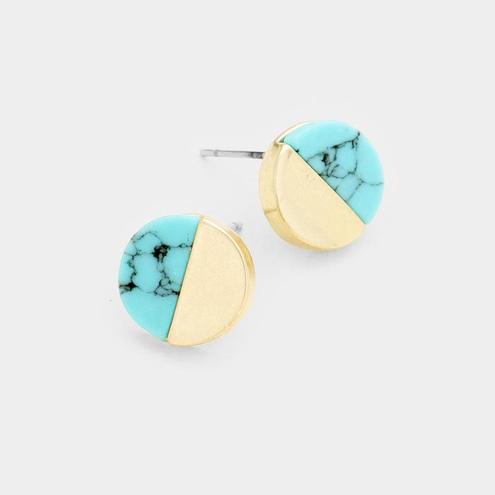 Turquoise Half-Moon Stud Earrings