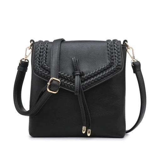 Crossbody with Braided Details in Black - Boutique 1780