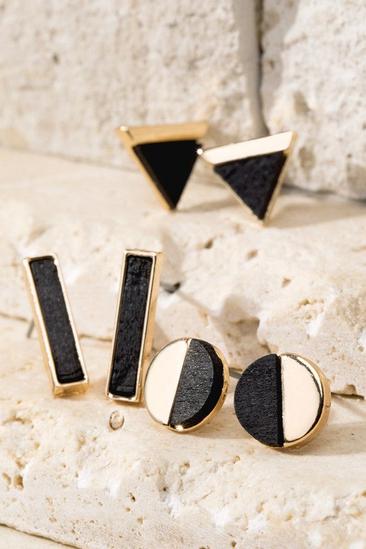 Geometric Stud Earring Set - Boutique 1780