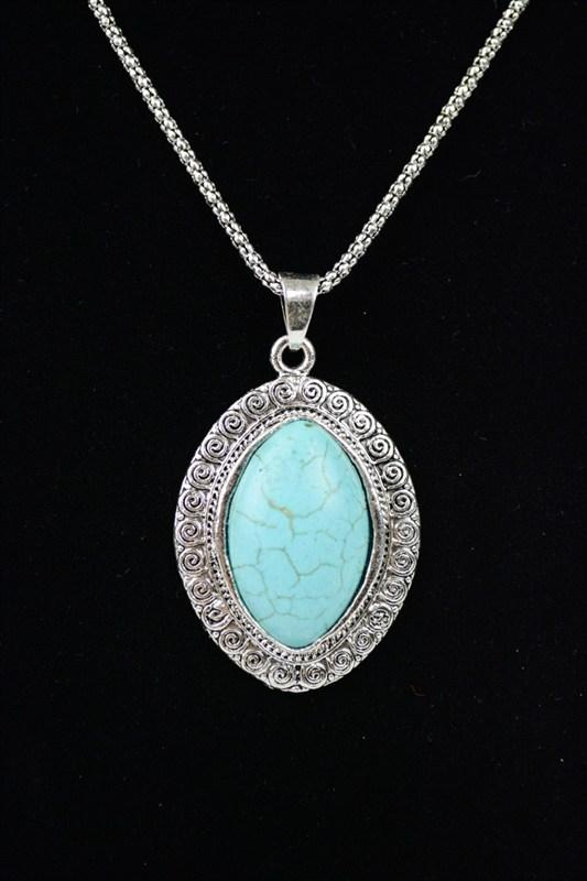 Oval Turquoise Pendant Necklace - Boutique 1780