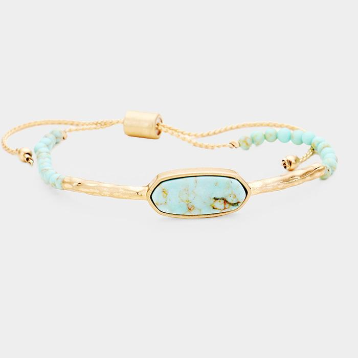 Oval Natural Stone Adjustable Bracelet - Boutique 1780