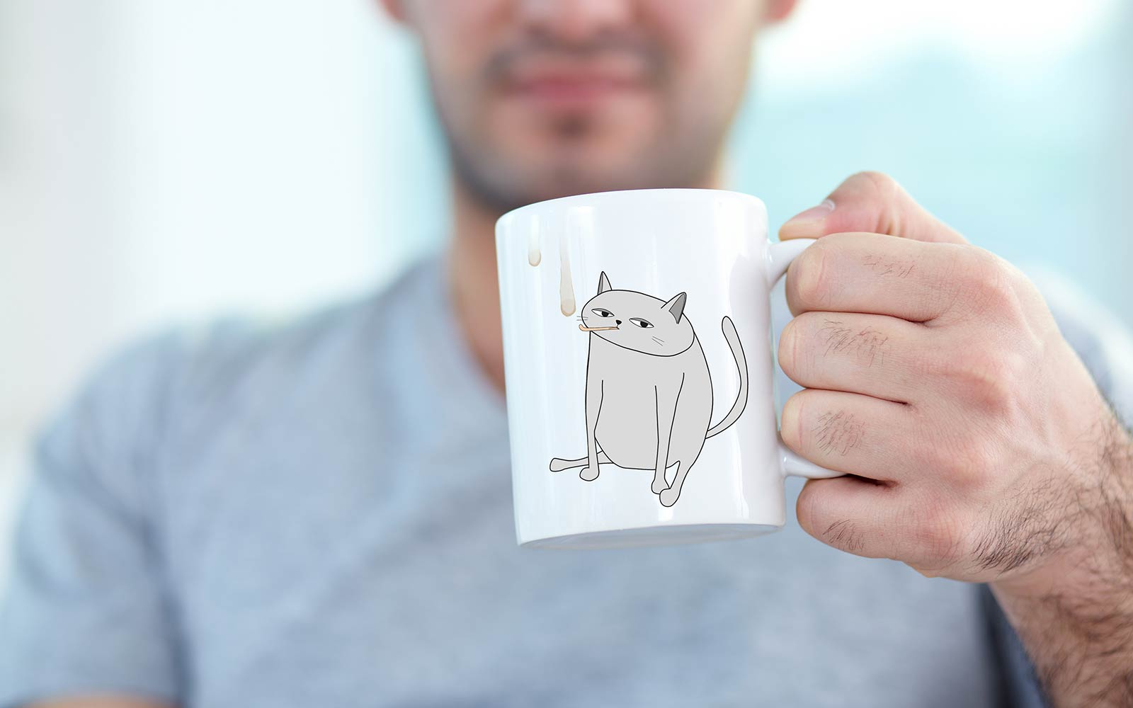 Funny Ken the Cat Coffee Mug Licking Tea Drip