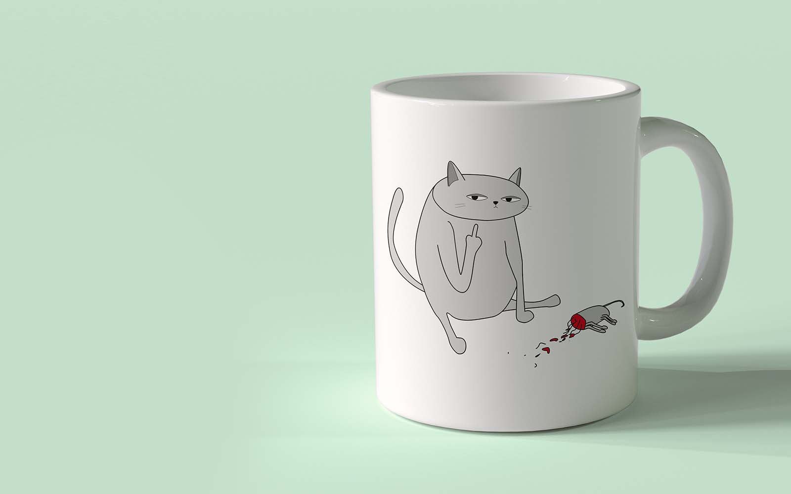 Ken the Cat Coffee Mug with Dead Mouse