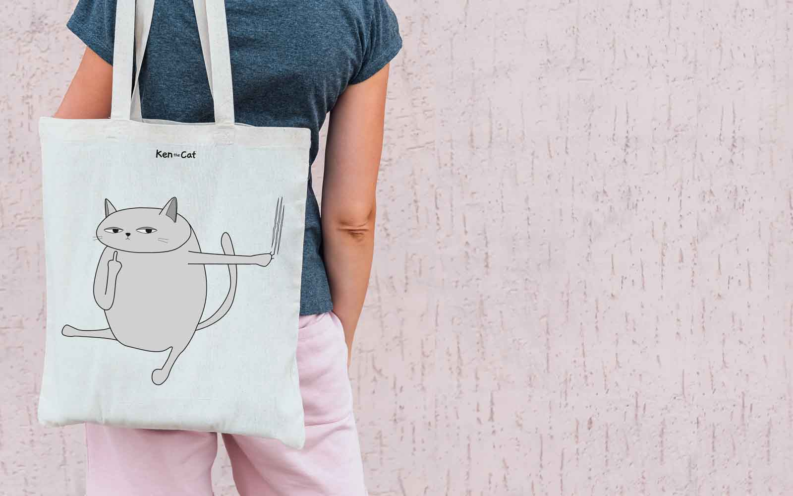 Ken the Cat Swearing Cat Eco Tote Shopping Bag