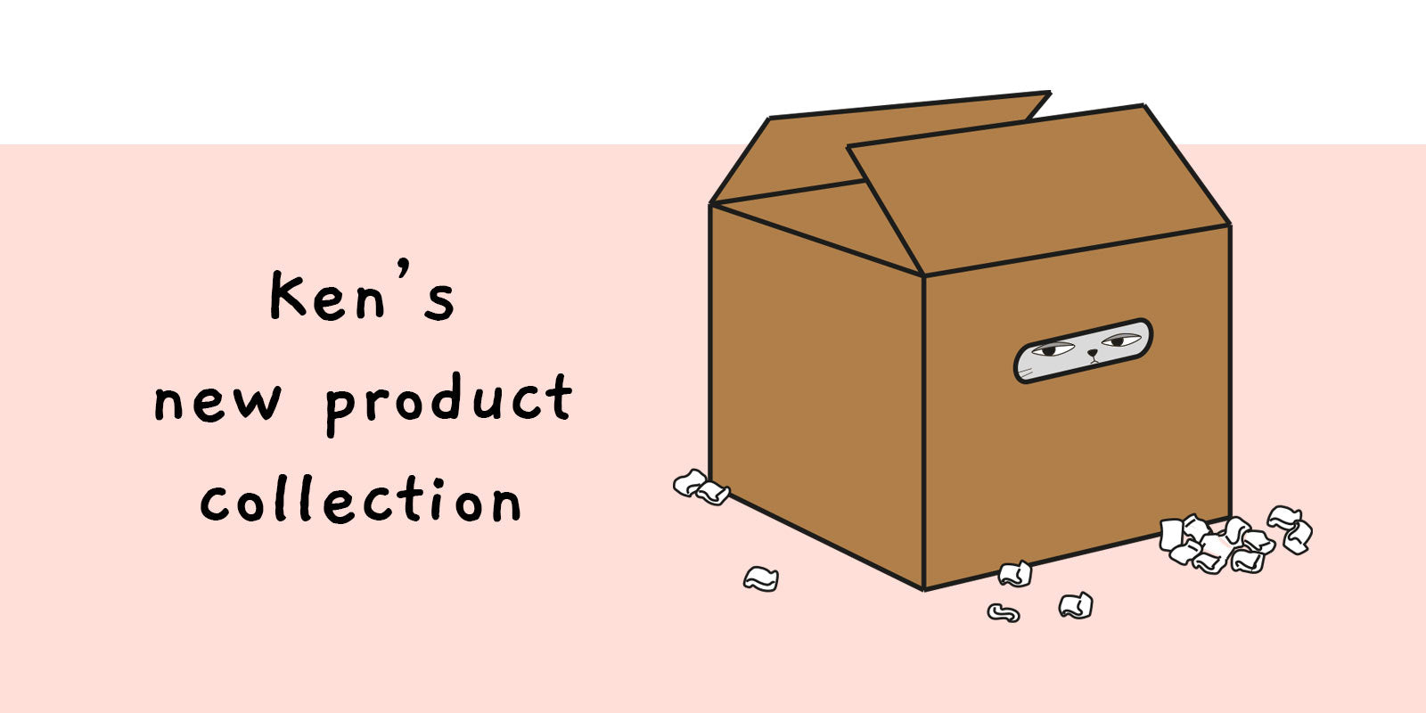 new banner, pink with ken in box and the text saying ken's new product collection