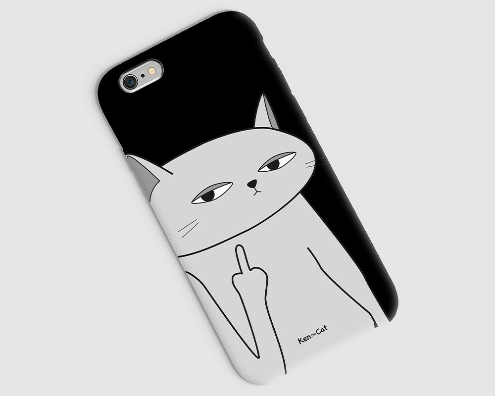 Ken the Cat Middle Finger Close Up Phone Case Black on grey