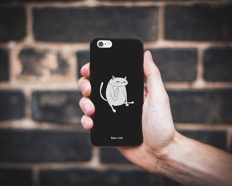Ken the Cat Middle Finger Phone Case Black On Grey