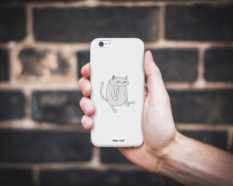 Ken the Cat Middle Finger Phone Case White On Grey