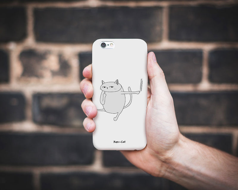 Ken the Cat Scratching Phone Case WHITE On Grey