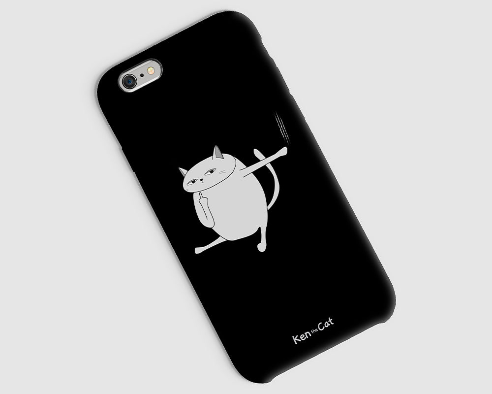 Ken the Cat Scratching Phone Case Black On Grey