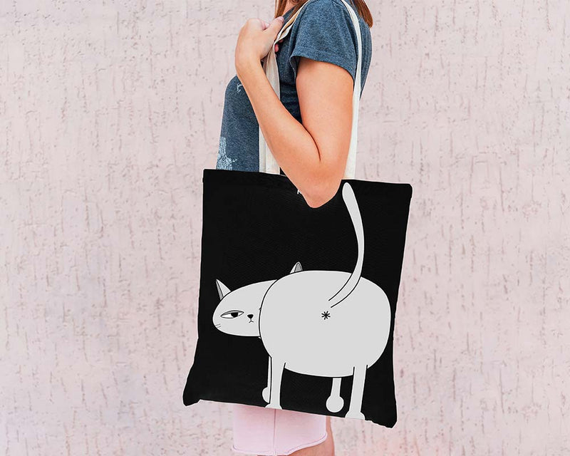 Black Ken the Cat Bum Close Up Tote Bag on Grey