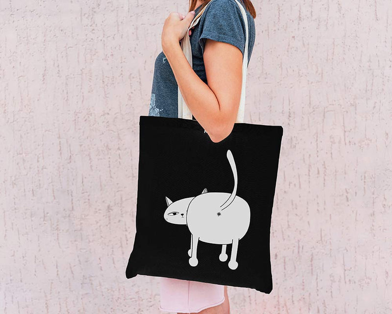 Cat's Ass Eco Tote Bag / Black