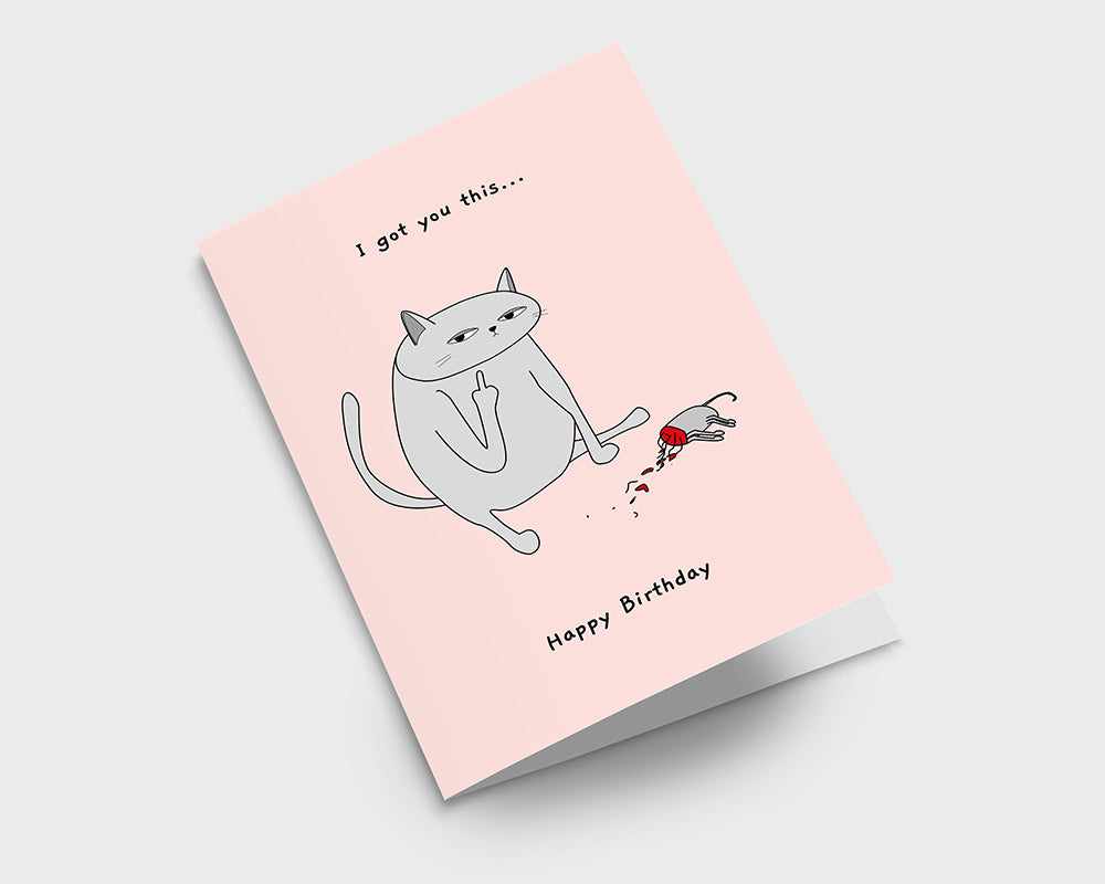 Pink Ken the Cat With Dead Mouse Birthday Card on Grey