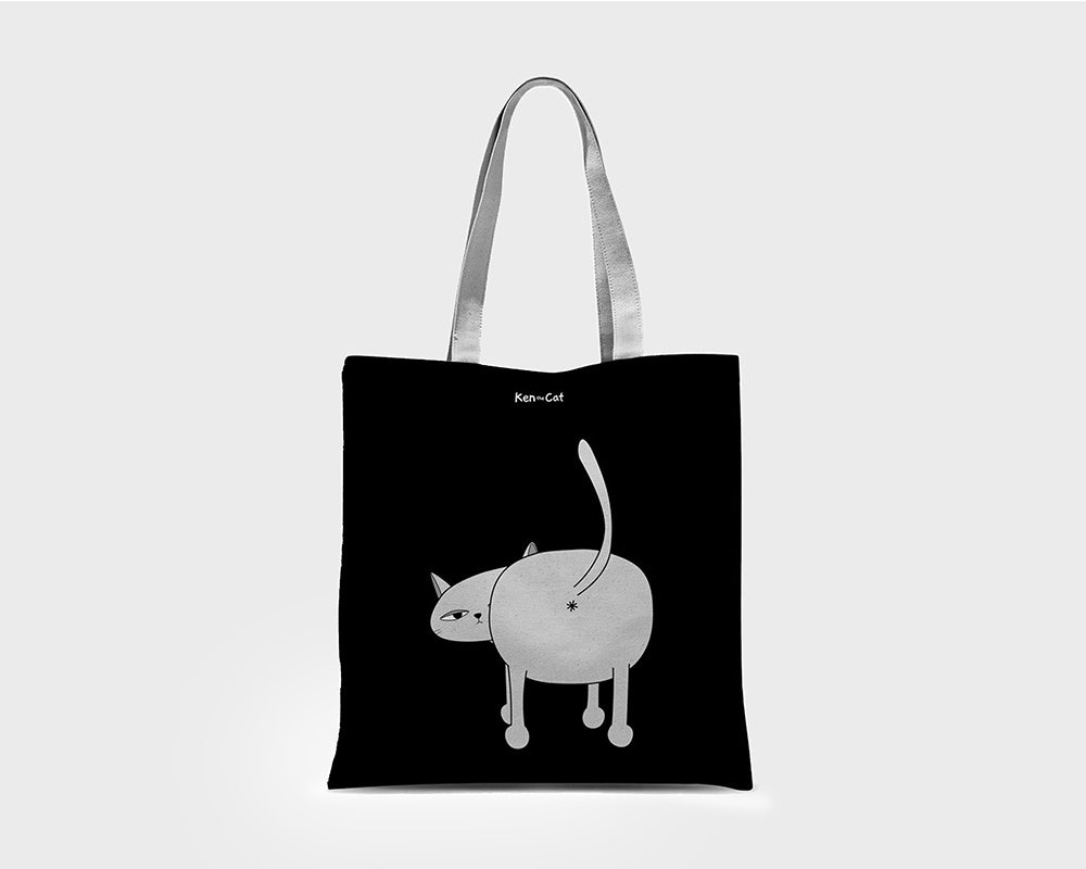 Black Ken the Cat's Ass Tote Bag on Grey