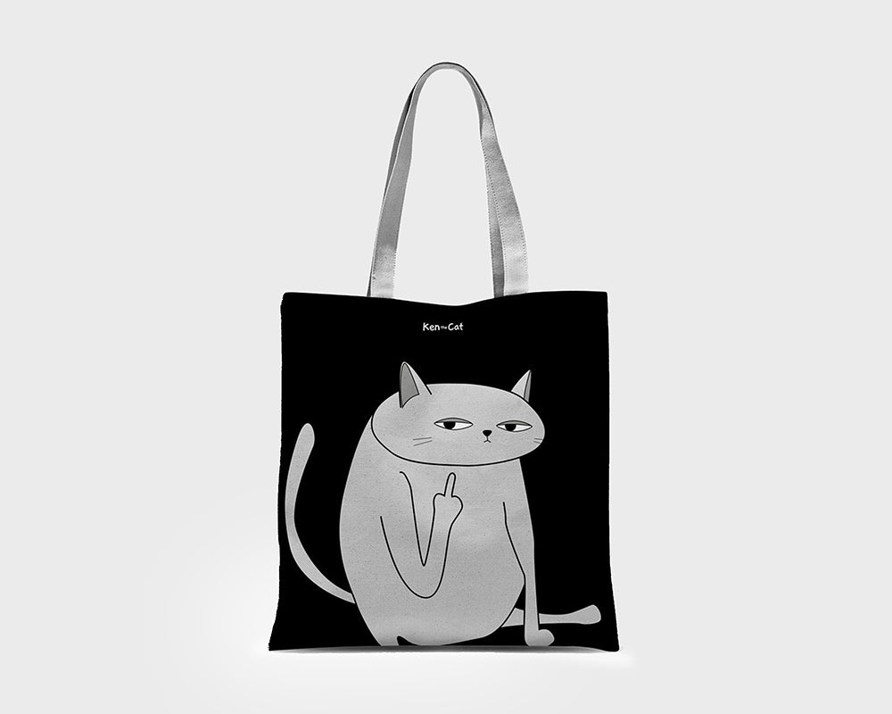 Black Ken the Cat Middle Finger Close up Tote bag on Grey