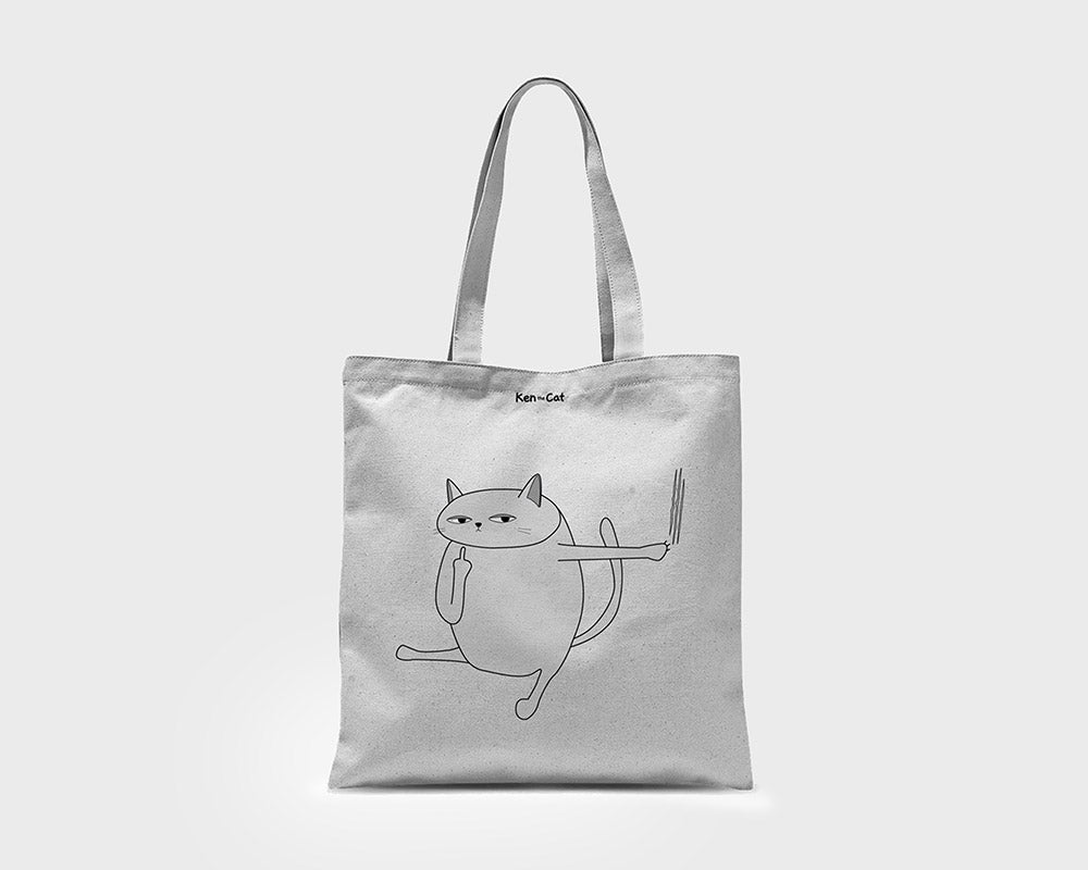 White Ken the Cat Scratching Tote Bag on Grey