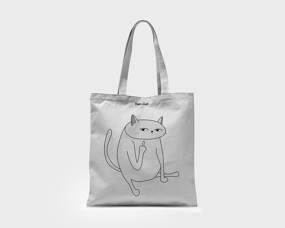White Ken the Cat Middle Finger Tote bag on White