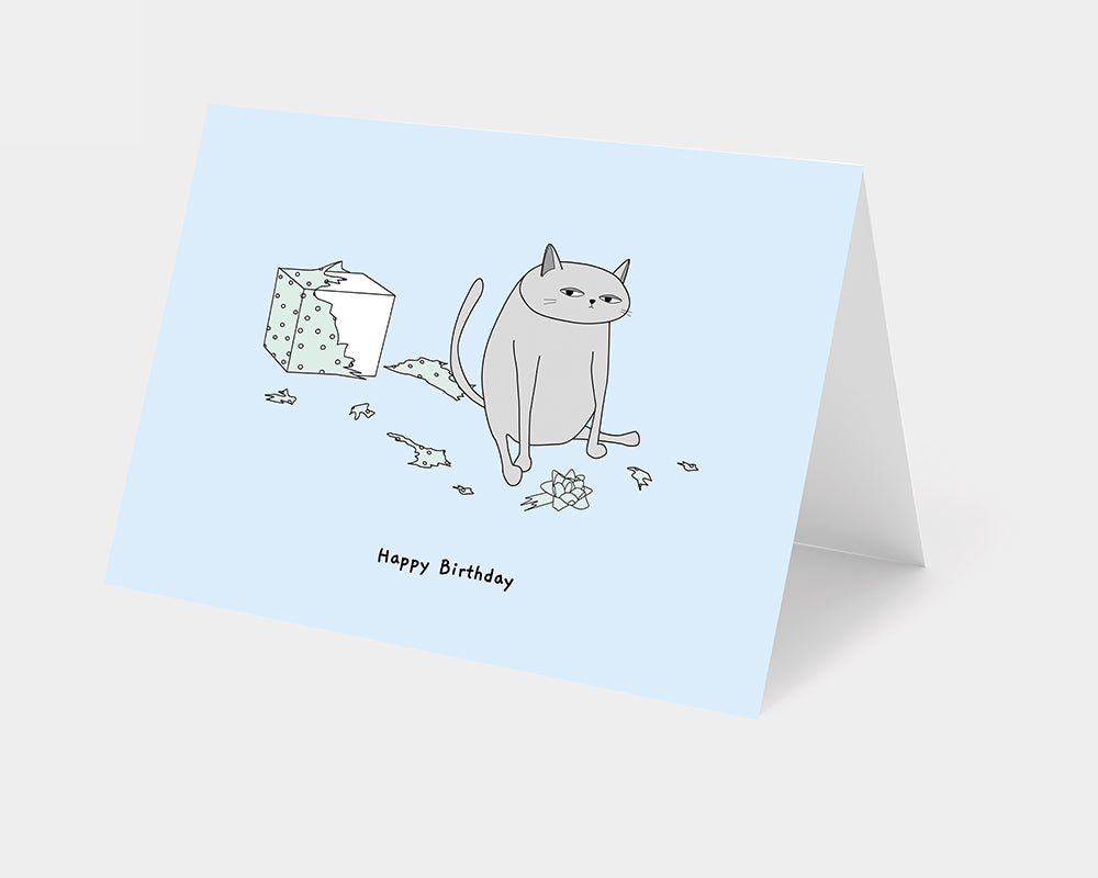 blue Ken the Cat Torn up Birthday Present card on grey