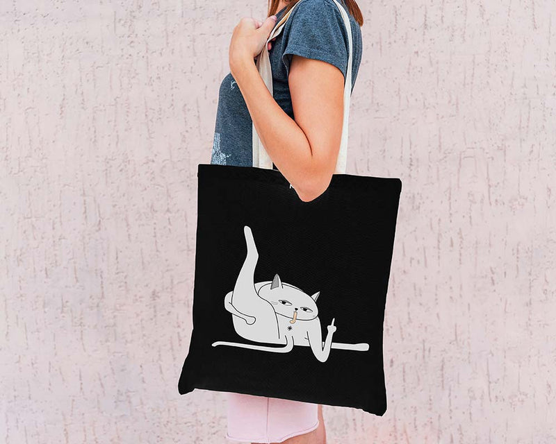 Black Ken the Cat Licking Himself Tote Bag on White