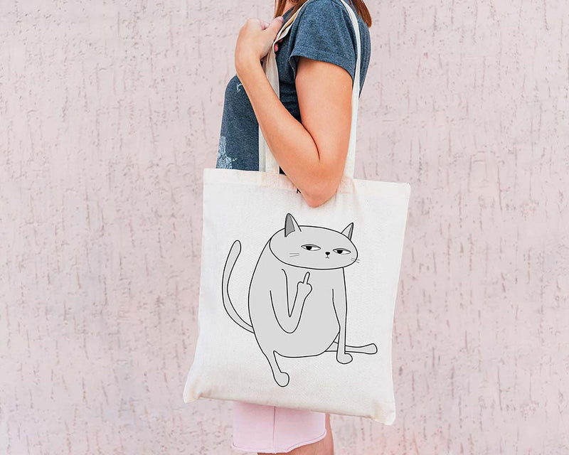 Middle Finger Eco Tote Bag / White