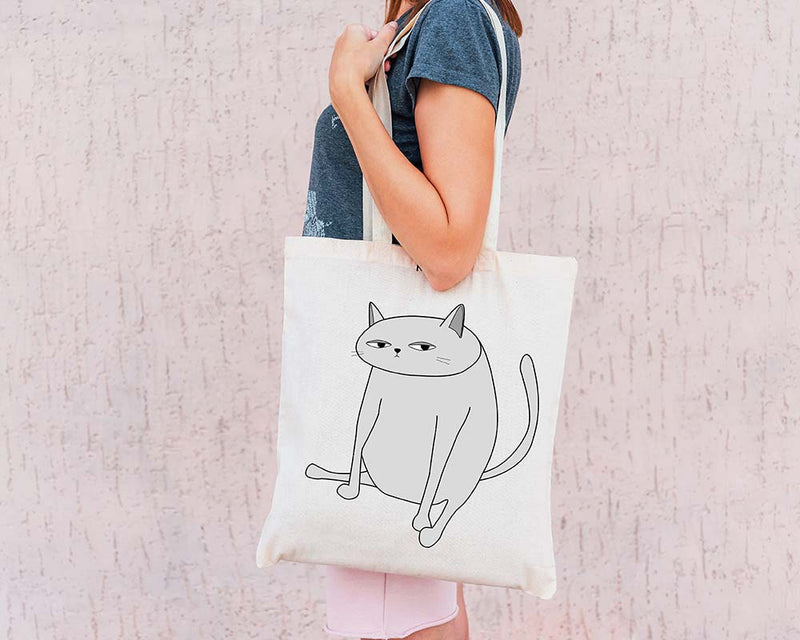 White Ken the Cat Sitting Tote Bag on White