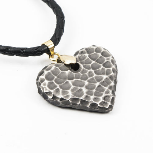 Titanium Moon Heart ( antique ) Necklace