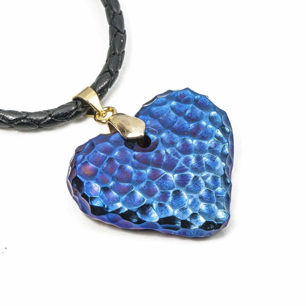 Titanium Moon Heart ( acid ) Necklace